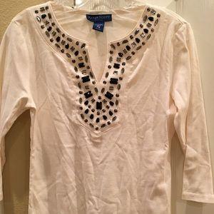 Karen Scott bejeweled blouse